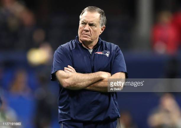 Head coach Bill Belichick of the New England Patriots looks on prior to Super Bowl LIII against the Los Angeles Rams at MercedesBenz Stadium on...