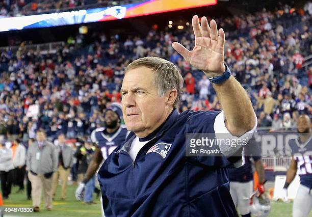 Head coach Bill Belichick of the New England Patriots reacts after a game against the Miami Dolphins at Gillette Stadium on October 29 2015 in...