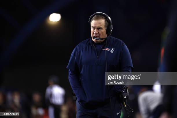Head coach Bill Belichick of the New England Patriots reacts in the third quarter during the AFC Championship Game against the Jacksonville Jaguars...