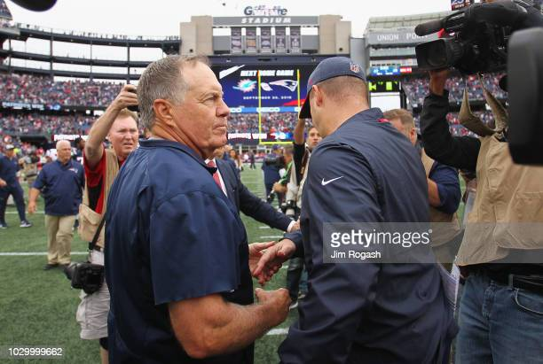Head coach Bill Belichick of the New England Patriots shakes hands with head coach Bill O'Brien of the Houston Texans after the Patriots defeated the...
