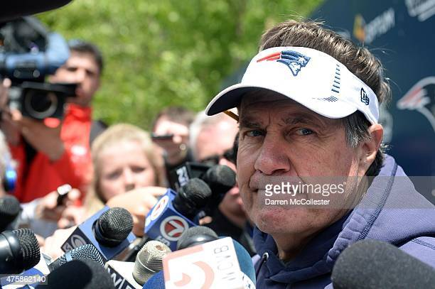 Head coach Bill Belichick of the New England Patriots speaks to the media after organized team activities at Gillette Stadium on June 4 2015 in...