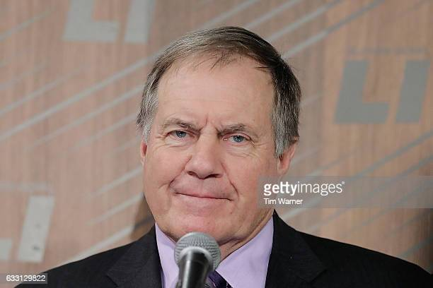 Head coach Bill Belichick of the New England Patriots speaks with the media during Super Bowl 51 Opening Night at Minute Maid Park on January 30 2017...