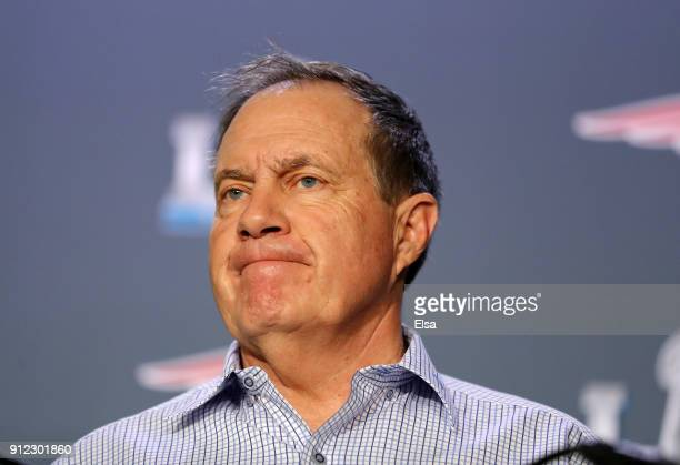 Head coach Bill Belichick of the New England Patriots speaks with the press during the New England Patriots Media Availability during Super Bowl LII...