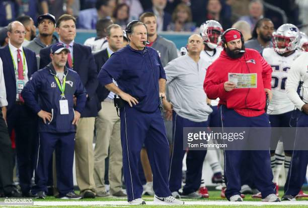 Head coach Bill Belichick of the New England Patriots stands on the sidelines in the fourth quarter during Super Bowl 51 at NRG Stadium on February 5...