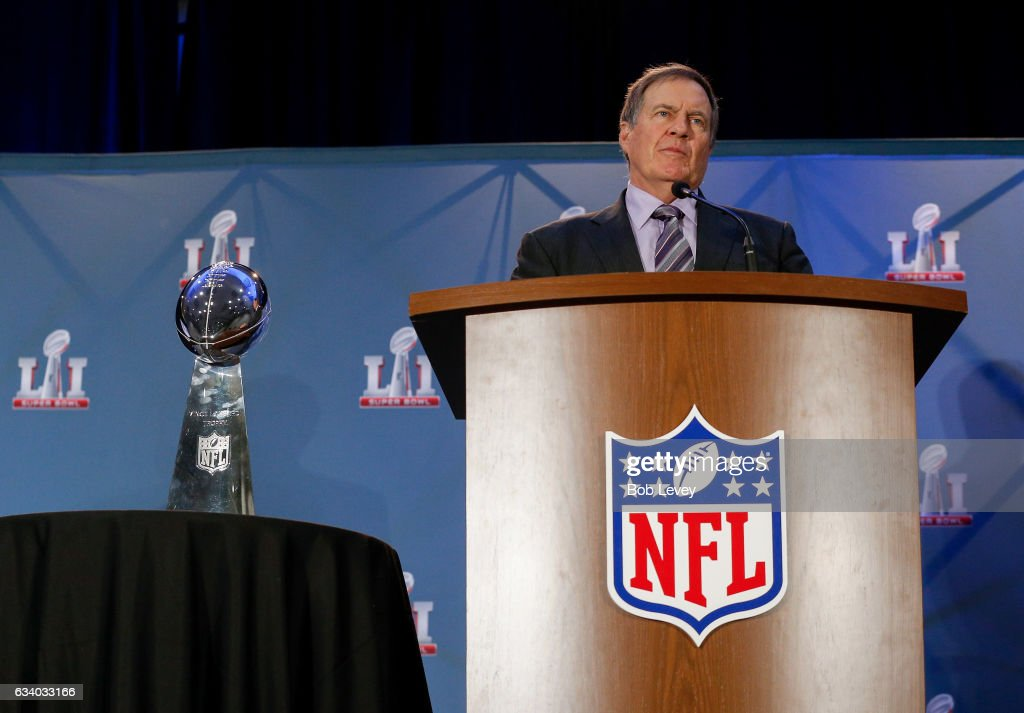 Head coach Bill Belichick of the New England Patriots talks to the media about their win over the Atlanta Falcons in Super Bowl LI at the Super Bowl Winner and MVP press conference on February 6, 2017 in Houston, Texas.