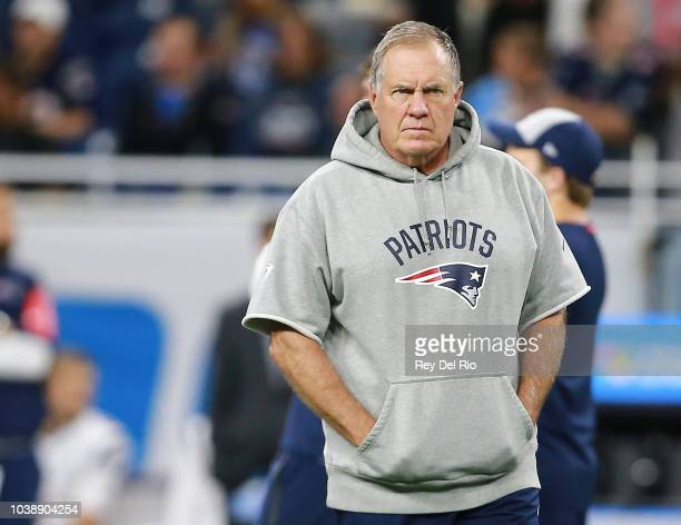 Head coach Bill Belichick of the New England Patriots walks on the field prior to the start of the game against the Detroit Lions at Ford Field on...