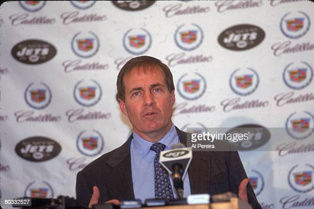 Head coach Bill Belichick of the New York Jets resigns from the job at a press conference just one day after accepting the position at Hempstead New...