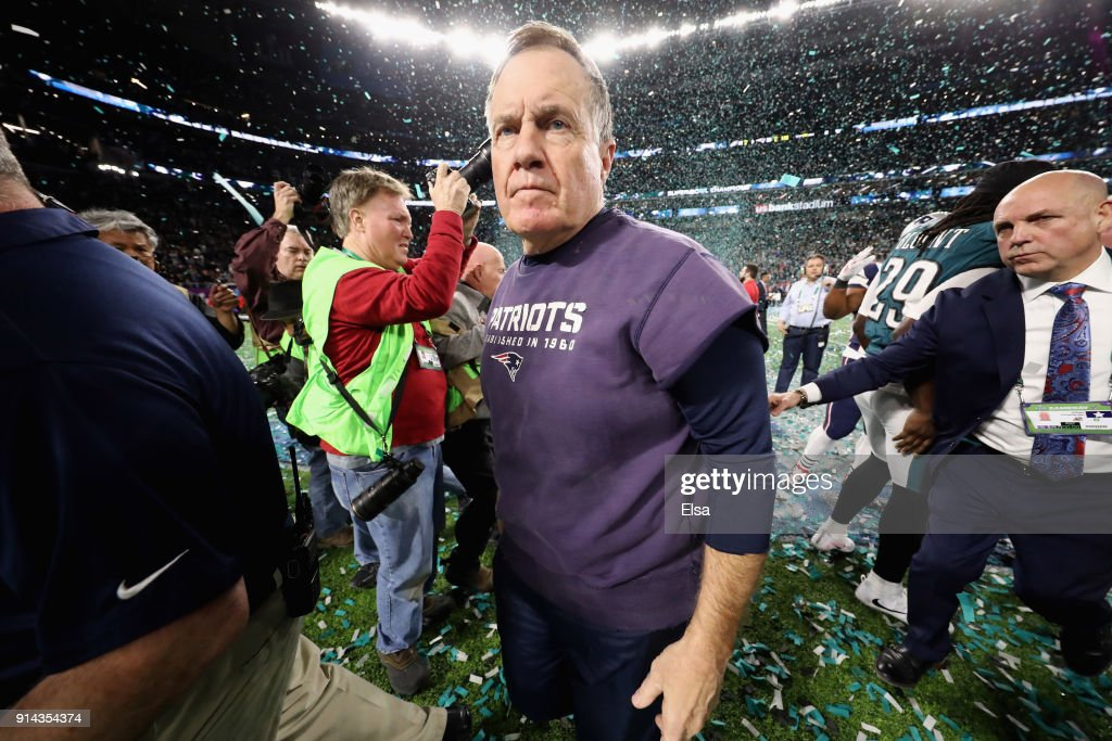 Head coach Bill Belichick reacts after the Philadelphia Eagles defeated the New England Patriots 41-33 in Super Bowl LII at U.S. Bank Stadium on February 4, 2018 in Minneapolis, Minnesota.