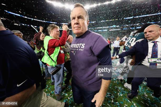 Head coach Bill Belichick reacts after the Philadelphia Eagles defeated the New England Patriots 4133 in Super Bowl LII at US Bank Stadium on...