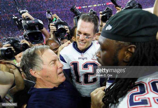 Head coach Bill Belichick Tom Brady and LeGarrette Blount of the New England Patriots celebrate after defeating the Atlanta Falcons during Super Bowl...