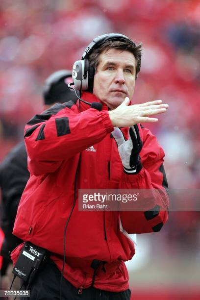 Head coach Bill Callahan of the Nebraska Cornhuskers calls a timeout with 32 seconds left in the game against the Texas Longhorns on October 21 2006...