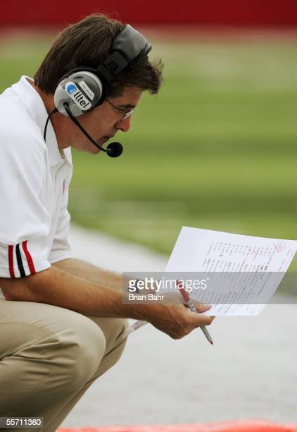 Head coach Bill Callahan of the Nebraska Cornhuskers considers options against the Pittsburgh Panthers on September 17, 2005 at Memorial Stadium in...