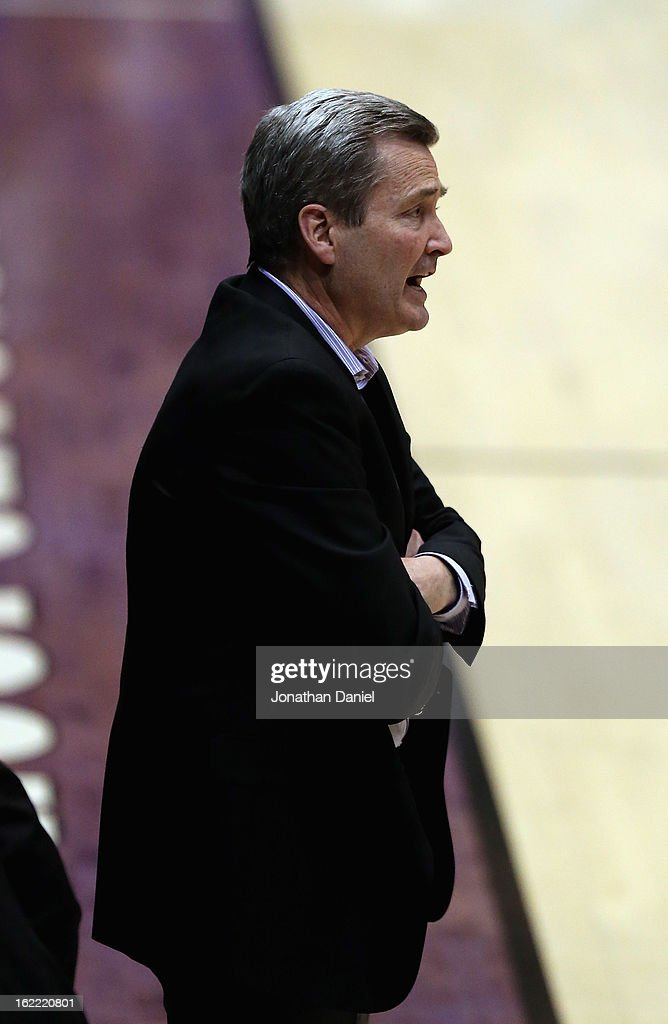 Head coach Bill Carmody of the Northwestern Wildcats watches as his team takes on the Wisconsin Badgers at Welsh-Ryan Arena on February 20, 2013 in Evanston, Illinois. Wisconsin defeated Northwestern 69-41.