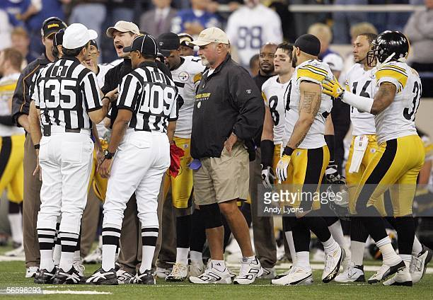 Head coach Bill Cowher of the Pittsburgh Steelers argues with officials after a Troy Polamalu interception was reversed to a incomplete pass on a...