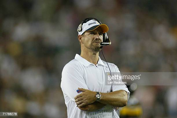 Head coach Bill Cowher of the Pittsburgh Steelers looks on against the Philadelphia Eagles during a preseason game on August 25, 2006 at Lincoln...
