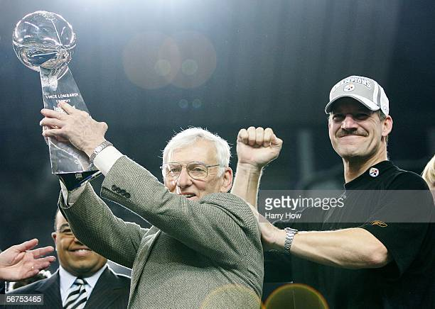 Head coach Bill Cowher of the Pittsburgh Steelers watches as owner Dan Rooney celebrates with the Vince Lombardi Tropy after defeating the Seattle...