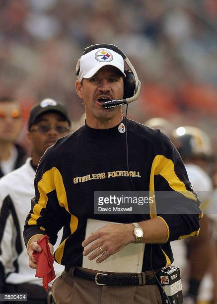 Head coach Bill Cowher of the Pittsburgh Steelers watches from the sidelines against the Cleveland Browns during the game at Cleveland Browns Stadium...