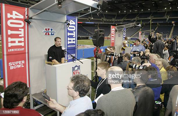 Head Coach Bill Cowher speaks at Pittsburgh Steelers media day for Super Bowl XL at Ford Field in Detroit, Michigan on January 31, 2006.