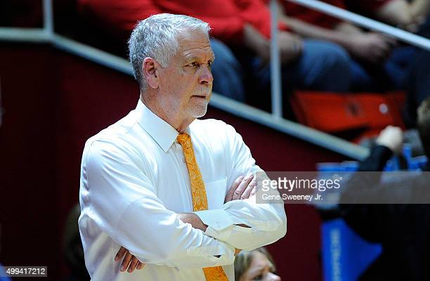 Head coach Bill Evans of the Idaho State Bengals looks on during their game against the Utah Utes the Jon M Huntsman Center on November 27 2015 in...