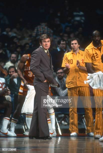 Head coach Bill Fitch of the Cleveland Cavaliers looks on against the Washington Bullets during an NBA basketball game circa 1979 at the Capital...