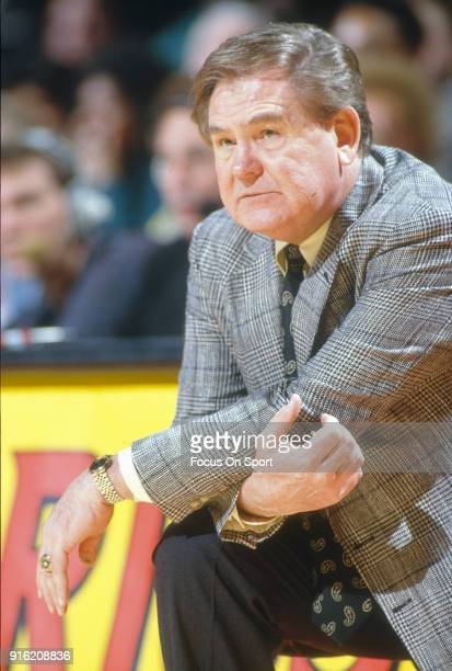 Head coach Bill Fitch of the New Jersey Nets looks on against the Washington Bullets during an NBA basketball game circa 1992 at the Capital Centre...