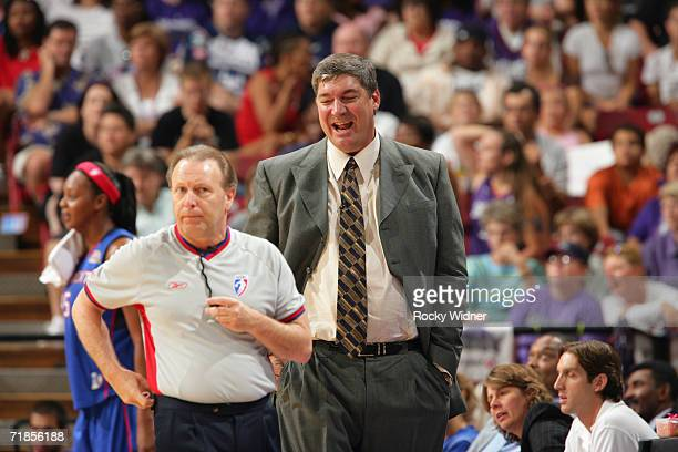 Head coach Bill Laimbeer of the Detroit Shock argues with referee Bob Trammell during game three of the 2006 WNBA Finals against the Sacramento...