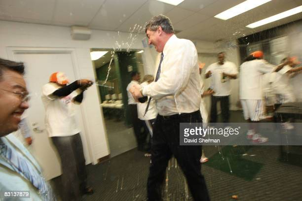 Head Coach Bill Laimbeer of the Detroit Shock celebrates in the lockerroom after winning Game Three of the WNBA Finals against the San Antonio Silver...
