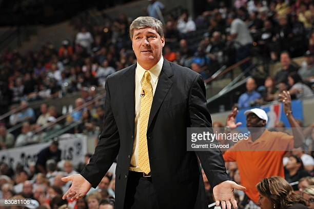 Head Coach Bill Laimbeer of the Detroit Shock is unhappy with a call against the San Antonio Silver Stars during Game One of the WNBA Finals on...