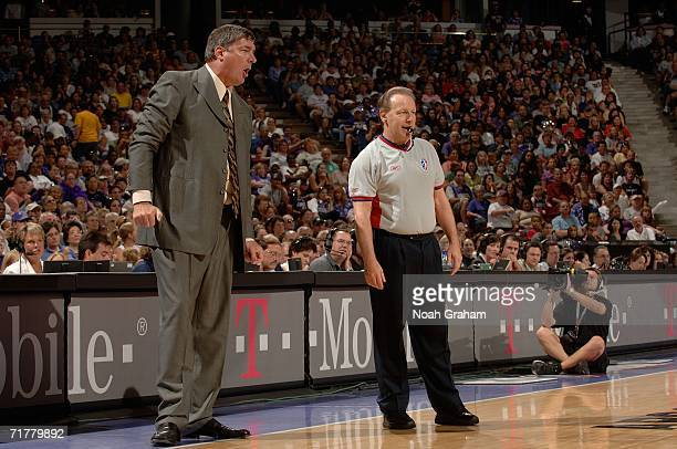 Head coach Bill Laimbeer of the Detroit Shock pleads his case to a referee against the Sacramento Monarchs during Game Three of the 2006 WNBA Finals...