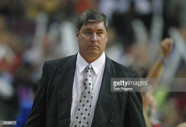 Head coach Bill Laimbeer of the Detroit Shock watches from the sideline during game two of the 2003 WNBA Finals against the Los Angeles Sparks at The...