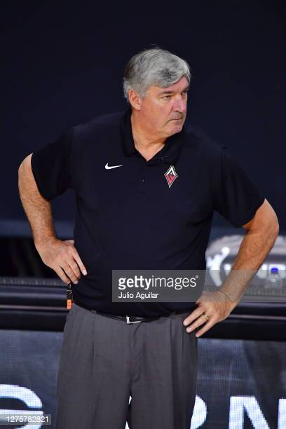 Head Coach Bill Laimbeer of the Las Vegas Aces looks on during the second half of Game 2 of their Third Round playoffs against the Connecticut Sun at...
