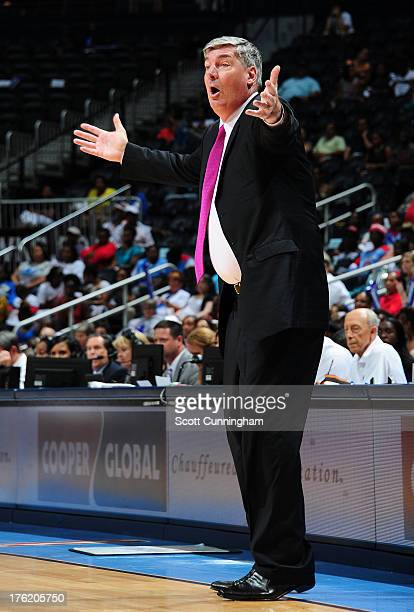Head Coach Bill Laimbeer of the New York Liberty disputes a call during the game against the Atlanta Dream at Philips Arena on August 11 2013 in...
