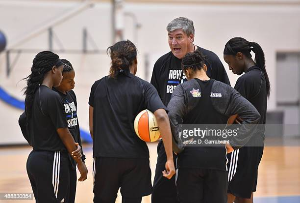 Head Coach Bill Laimbeer of the New York Liberty gives instruction to his team after practice at the New York Knicks training facility on September...