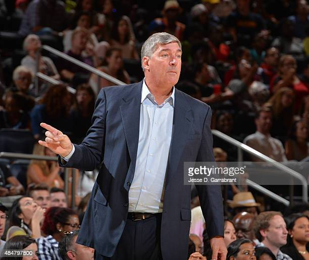 Head Coach Bill Laimbeer of the New York Liberty looks on against the Atlanta Dream at Madison Square Garden on August 21 2015 in New York New York...