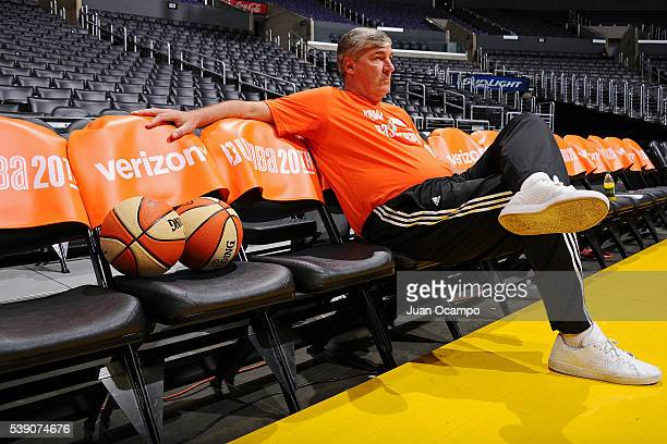 Head Coach Bill Laimbeer of the New York Liberty looks on before the game against the Los Angeles Sparks on June 7 2016 at Staples Center in Los...