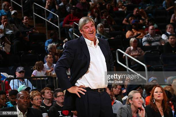Head Coach Bill Laimbeer of the New York Liberty looks on during the game against the Indiana Fever on June 3 2016 at Madison Square Garden in New...