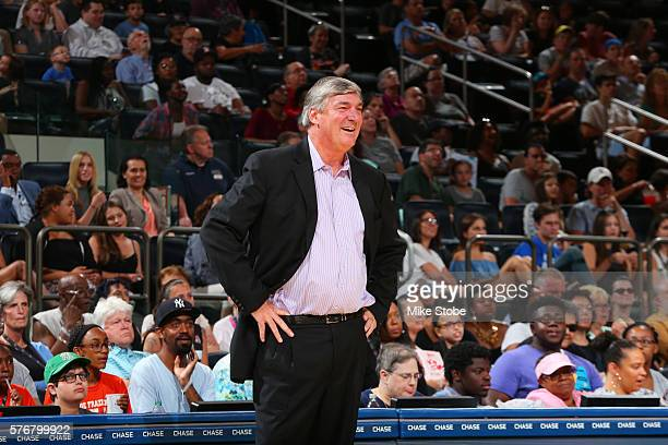 Head coach Bill Laimbeer of the New York Liberty looks on during the game against the Connecticut Sun on July 17 2016 at Madison Square Garden in New...