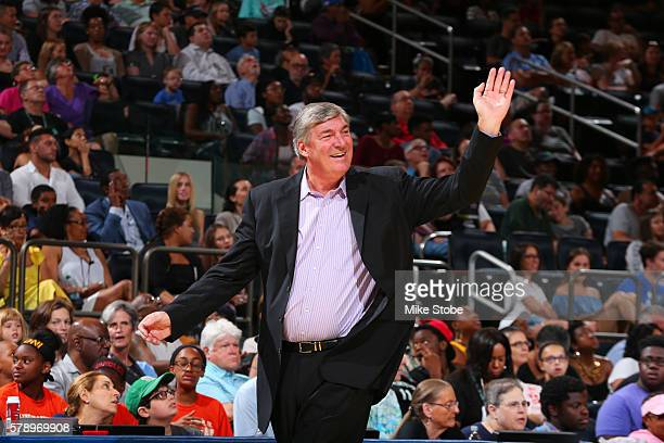 Head Coach Bill Laimbeer of the New York Liberty waives to fans during the game against the Connecticut Sun on July 17 2016 at Madison Square Garden...
