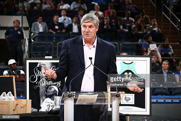 Head Coach Bill Laimbeer speaks during the retirement ceremony for Swin Cash of the New York Liberty after the game against the Seattle Storm on...