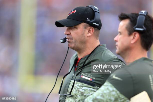 Head Coach Bill O'Brien of the Houston Texans is seen during the game against the Los Angeles Rams at the Los Angeles Memorial Coliseum on November...