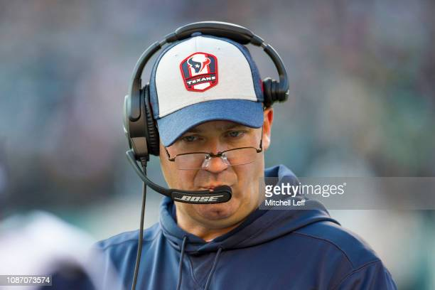 Head coach Bill O'Brien of the Houston Texans looks on against the Philadelphia Eagles at Lincoln Financial Field on December 23 2018 in Philadelphia...