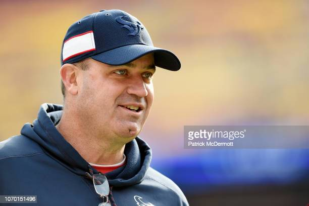 Head coach Bill O'Brien of the Houston Texans looks on before a game against the Washington Redskins at FedExField on November 18 2018 in Landover...