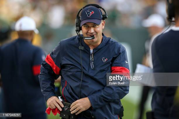 Head coach Bill O'Brien of the Houston Texans looks on before a preseason game against the Green Bay Packers at Lambeau Field on August 08 2019 in...