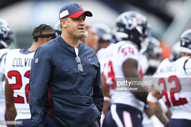 Head coach Bill O'Brien of the Houston Texans looks on before the game against the New England Patriots at Gillette Stadium on September 9 2018 in...