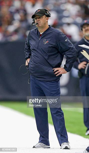 Head coach Bill O'Brien of the Houston Texans looks on from the sidelines against the San Diego Chargers at NRG Stadium on November 27 2016 in...