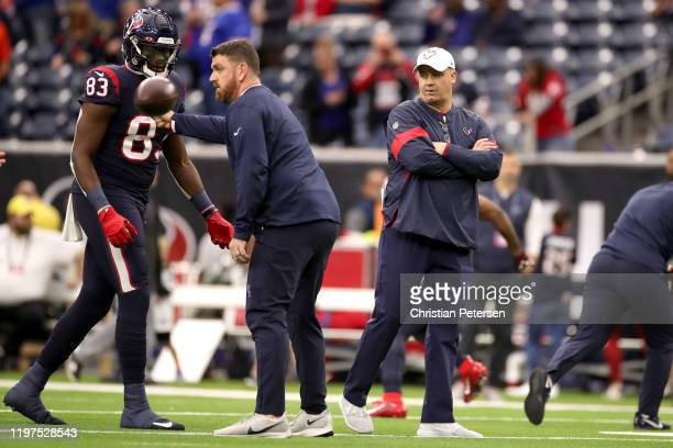 Head coach Bill O'Brien of the Houston Texans looks on prior to the AFC Wild Card Playoff game against the Buffalo Bills at NRG Stadium on January 04...