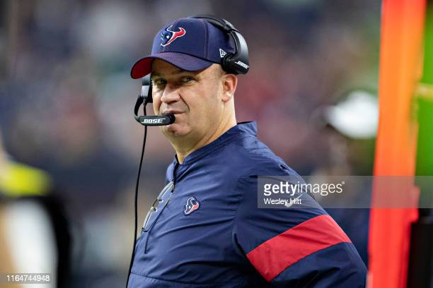 Head Coach Bill OBrien of the Houston Texans on the sidelines during a game against the Los Angeles Rams during week four of the preseason at NRG...