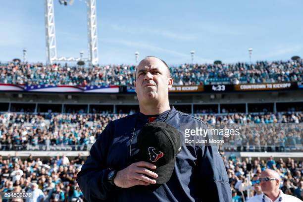 Head Coach Bill O'Brien of the Houston Texans on the sidelines during the National Anthem before the game against the Jacksonville Jaguars at...
