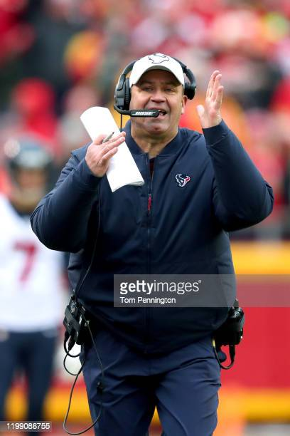 Head coach Bill O'Brien of the Houston Texans reacts against the Kansas City Chiefs during the second quarter in the AFC Divisional playoff game at...