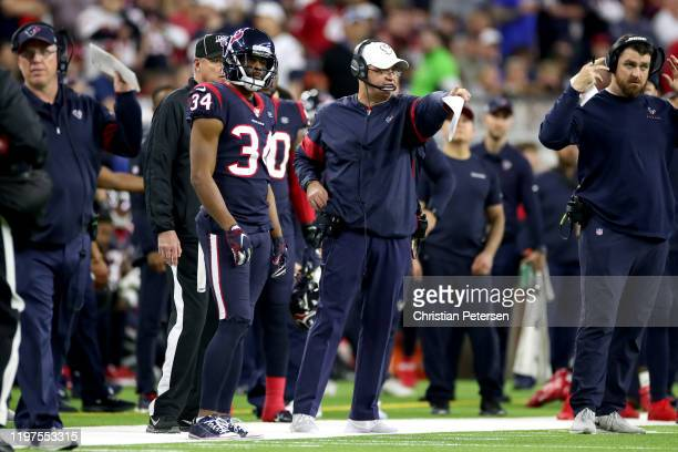 Head coach Bill O'Brien of the Houston Texans reacts against the Buffalo Bills during the third quarter of the AFC Wild Card Playoff game at NRG...
